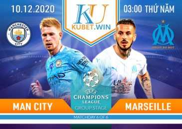 soi kèo Man City vs Marseille 10/12/2020 3h00 - Champion League